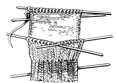 Вывязывание стенки пятки