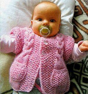 Вязание на спицах Жилетка для малышки