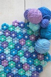 вязание крючком цветочный коврик
